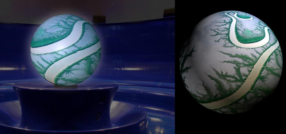 Palais de l'univers de Cappelle-la-Grande : projection sur sphère