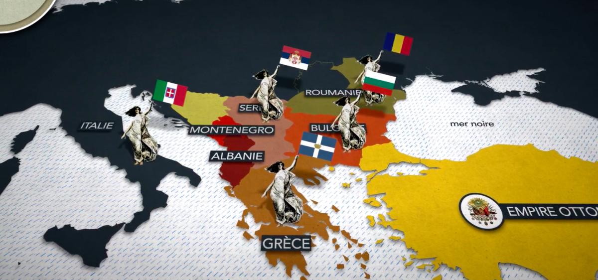Cartographie animée :  le redécoupage des Balkans après la victoire alliée