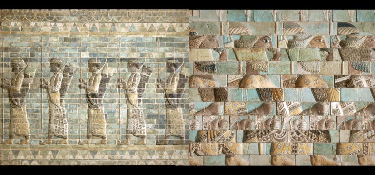 Maison du projet du Louvre Lens - animation 2D sur la frise des archers, Palais de Darius Ier