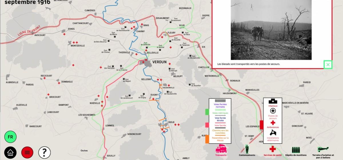 Carte interactive de la logistique du front